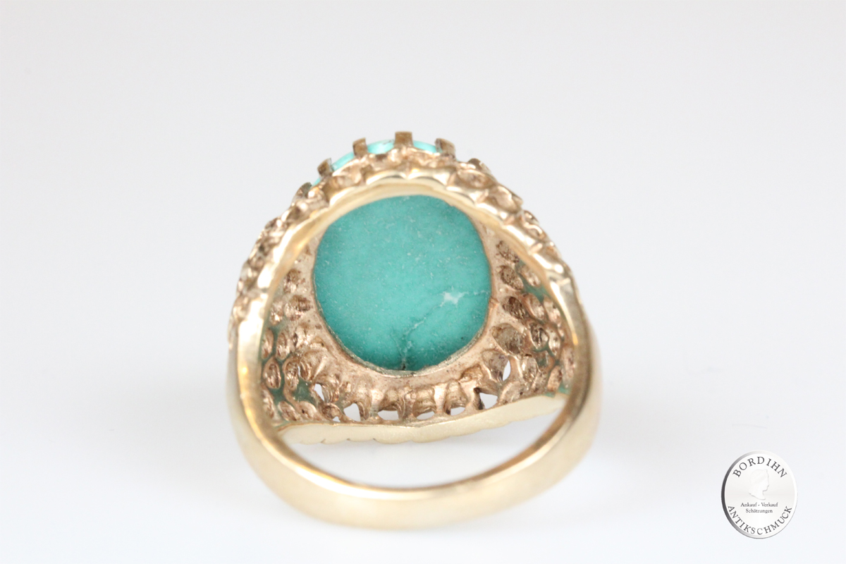 Ring 10 Karat Gold mit Türkis Goldring Schmuck Edelstein Damen Geschenk