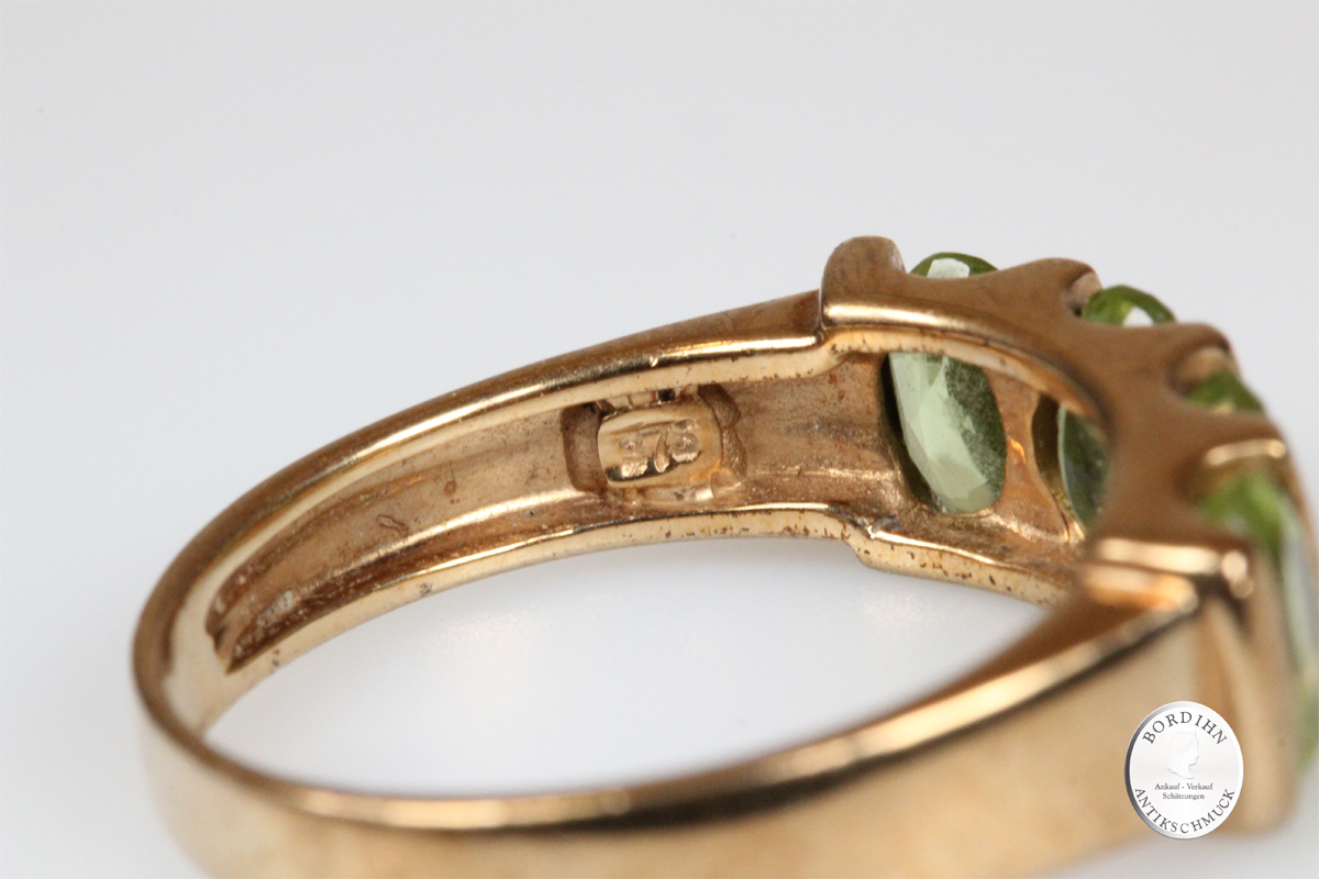 Ring 9 Karat Gold 4 Peridot Goldring Schmuckring Edelsteine Geschenk