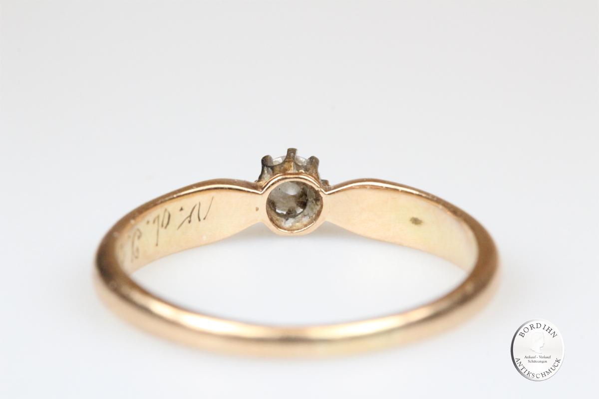 Ring 14 Karat Gold Brillant Goldring Schmuckring Antikschmuck Diamant