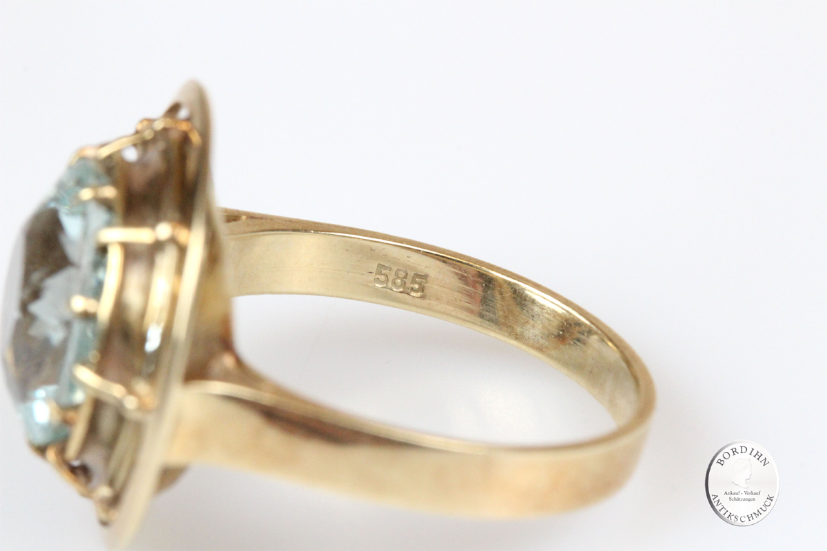 Ring 14 Karat Gold Aquamarin Goldring Schmuckring Edelstein blau Damen