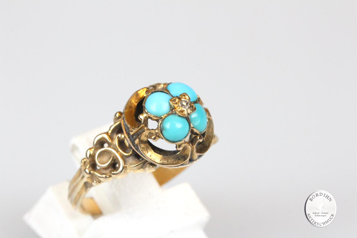 Ring 8 Karat Gold Türkis Diamant antik Schmuck Goldring Schmuckring