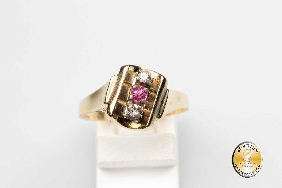 Ring; 14 Karat Gold, Rubin, Brillanten