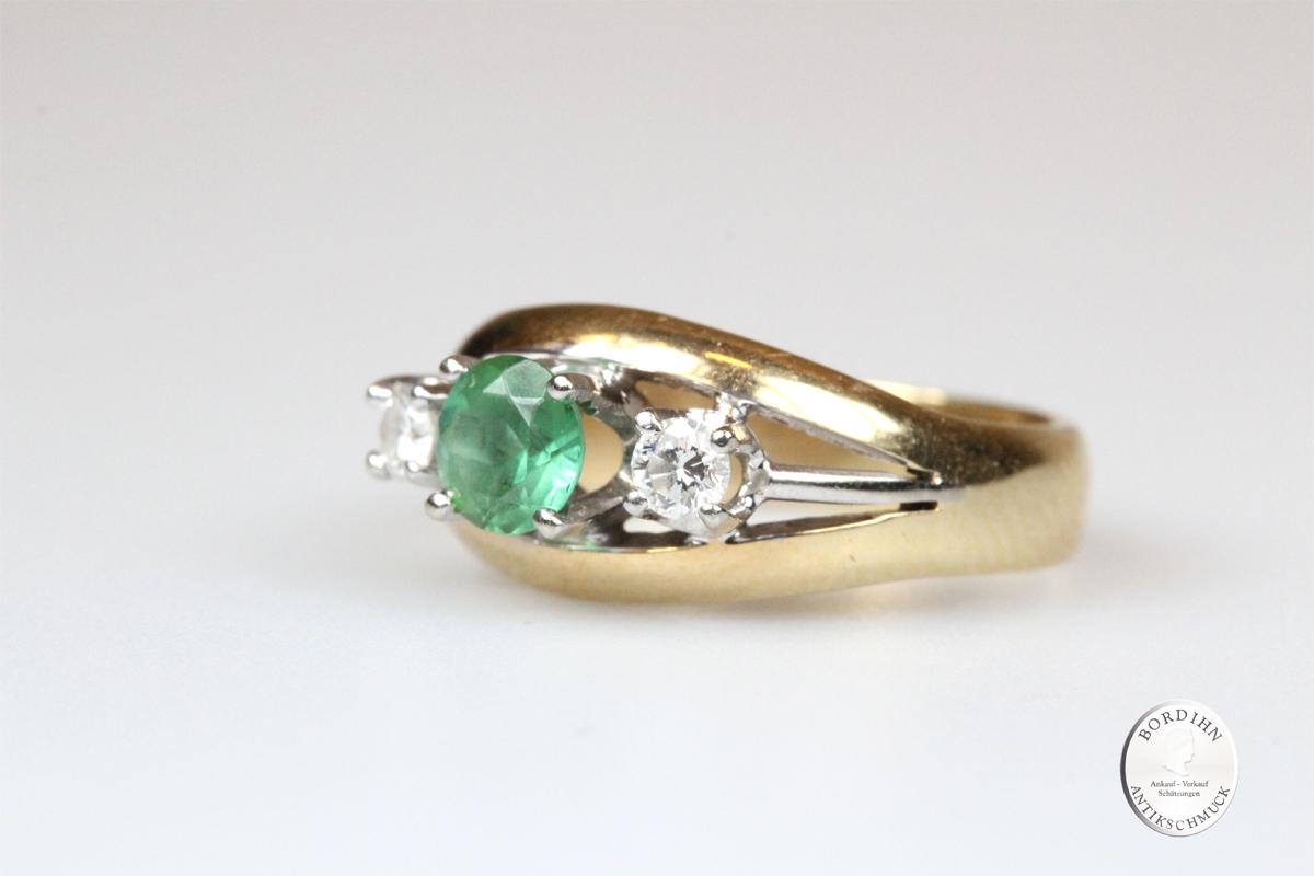 Ring 14K Gold Smaragd Brillanten Goldring Schmuckring Edelsteine Damen