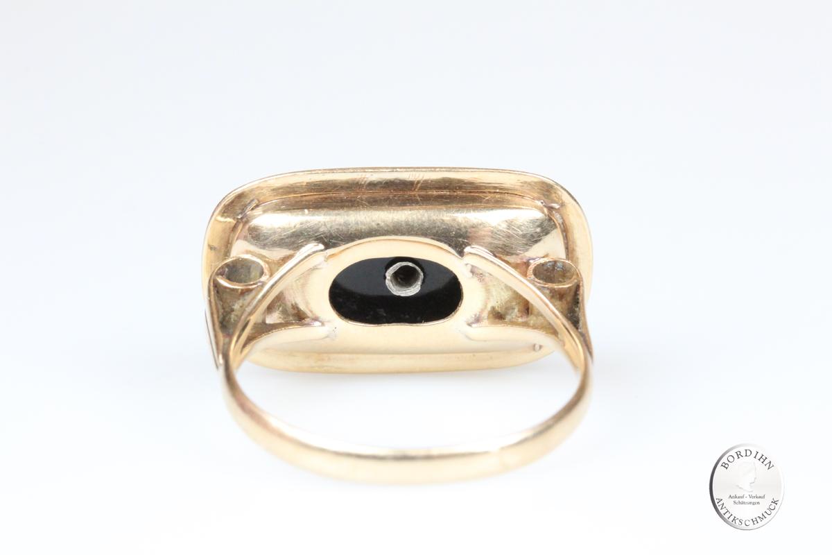 Ring 14 Karat Gold Onyx Diamant Goldring Schmuck antik Herrenring Geschenk