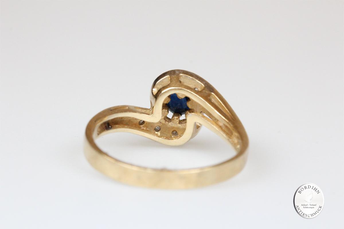 Ring 14 Karat Gold Saphir Brillant Schmuckring Goldring Edelsteine