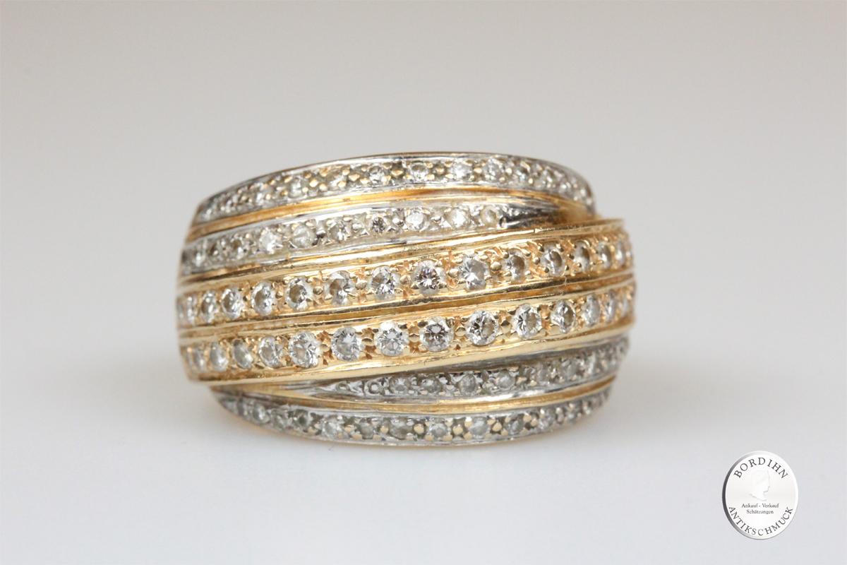 Ring 14 Karat Gold Brillanten Goldring Schmuckring Diamanten Damen