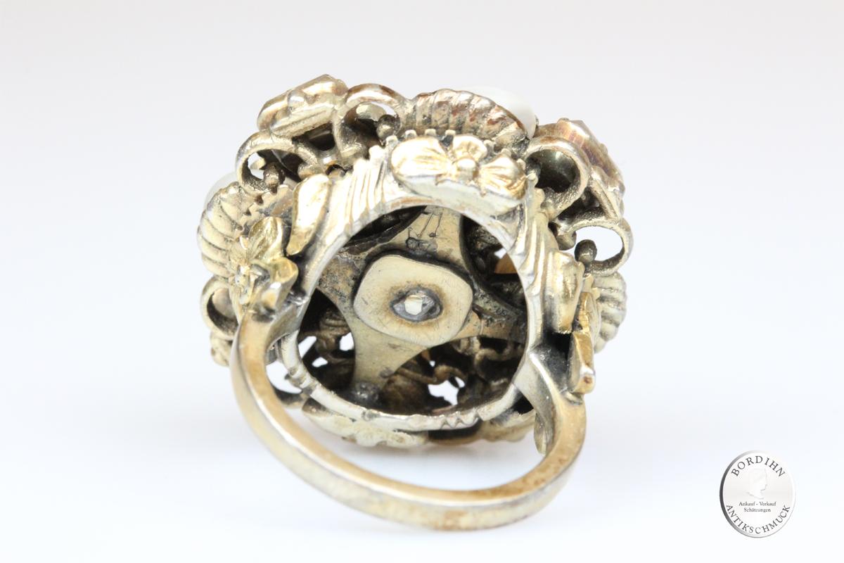 Ring Silber verg antik Barock Smaragd Perlen Schmuckring Edelsteine
