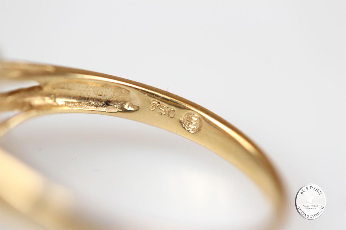 Ring 18 Karat Gold Saphir Natur Brillant Goldring Schmuckring Geschenk