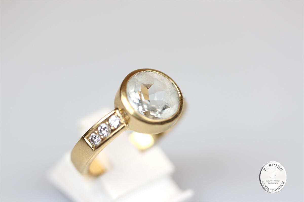 Ring 18 Karat Gold Aquamarin weiss Diamant Goldring Beryll Schmuckring