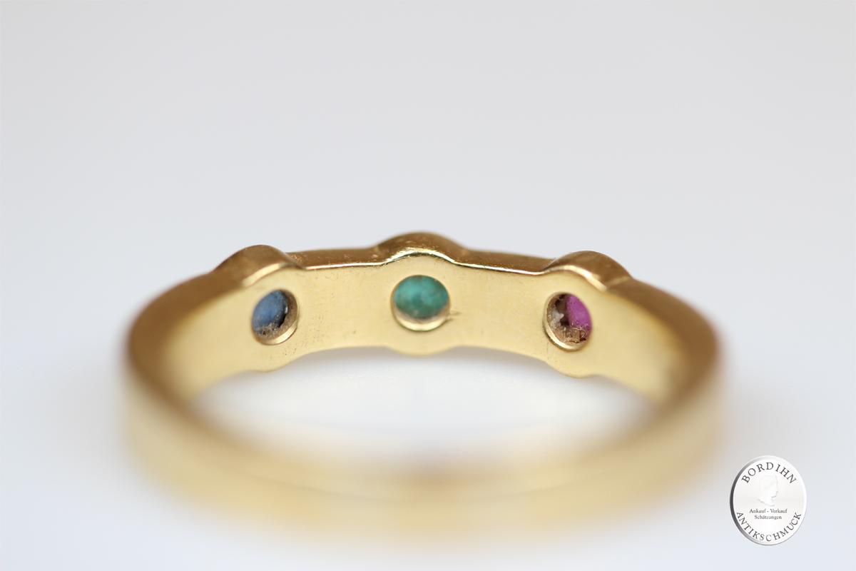 Ring 18 Karat Gold Diamant Rubin Smaragd Saphir Goldring Schmuckring