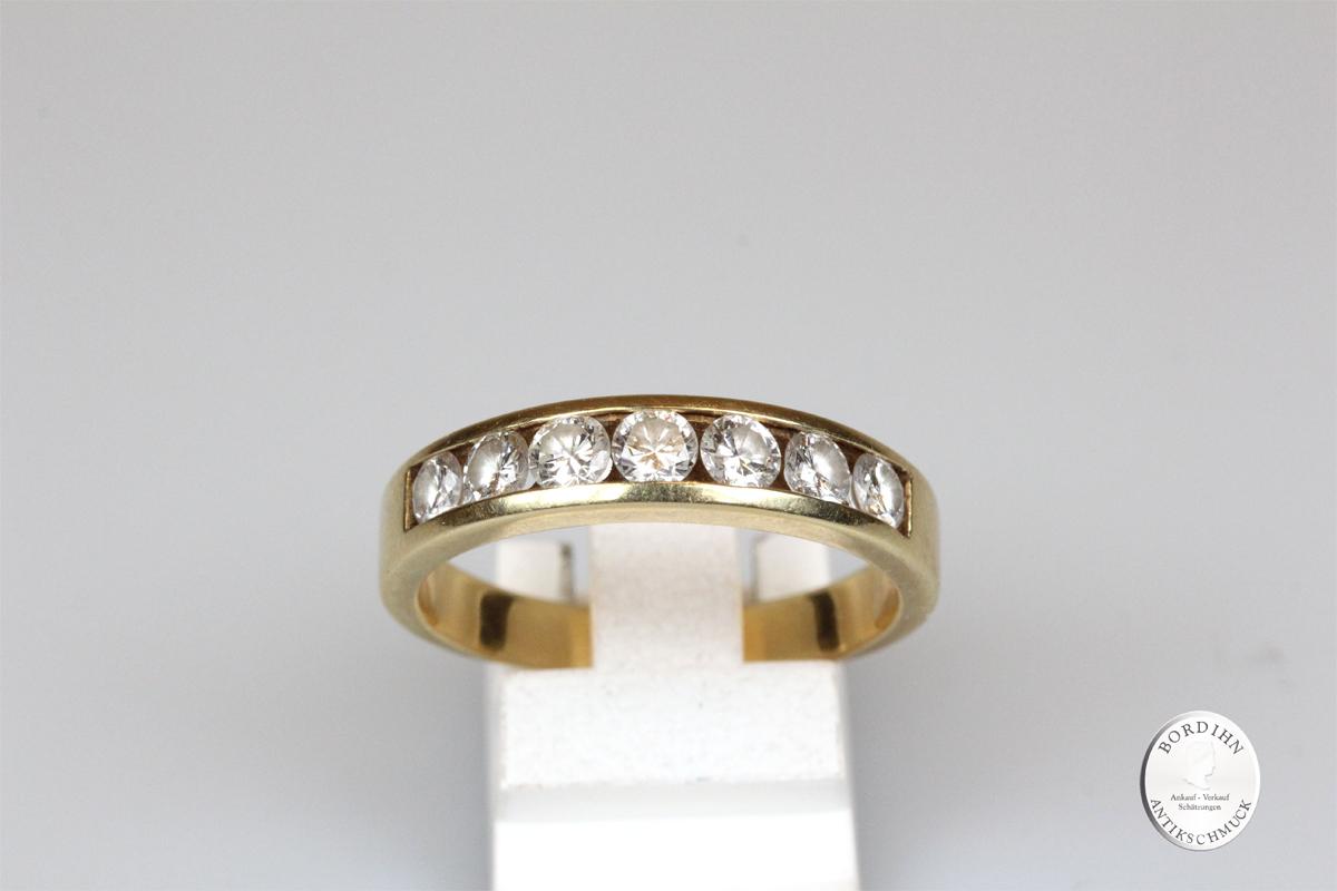 Ring 18 Karat Gold 7 Brillanten Bandring Goldring Schmuckring Herren