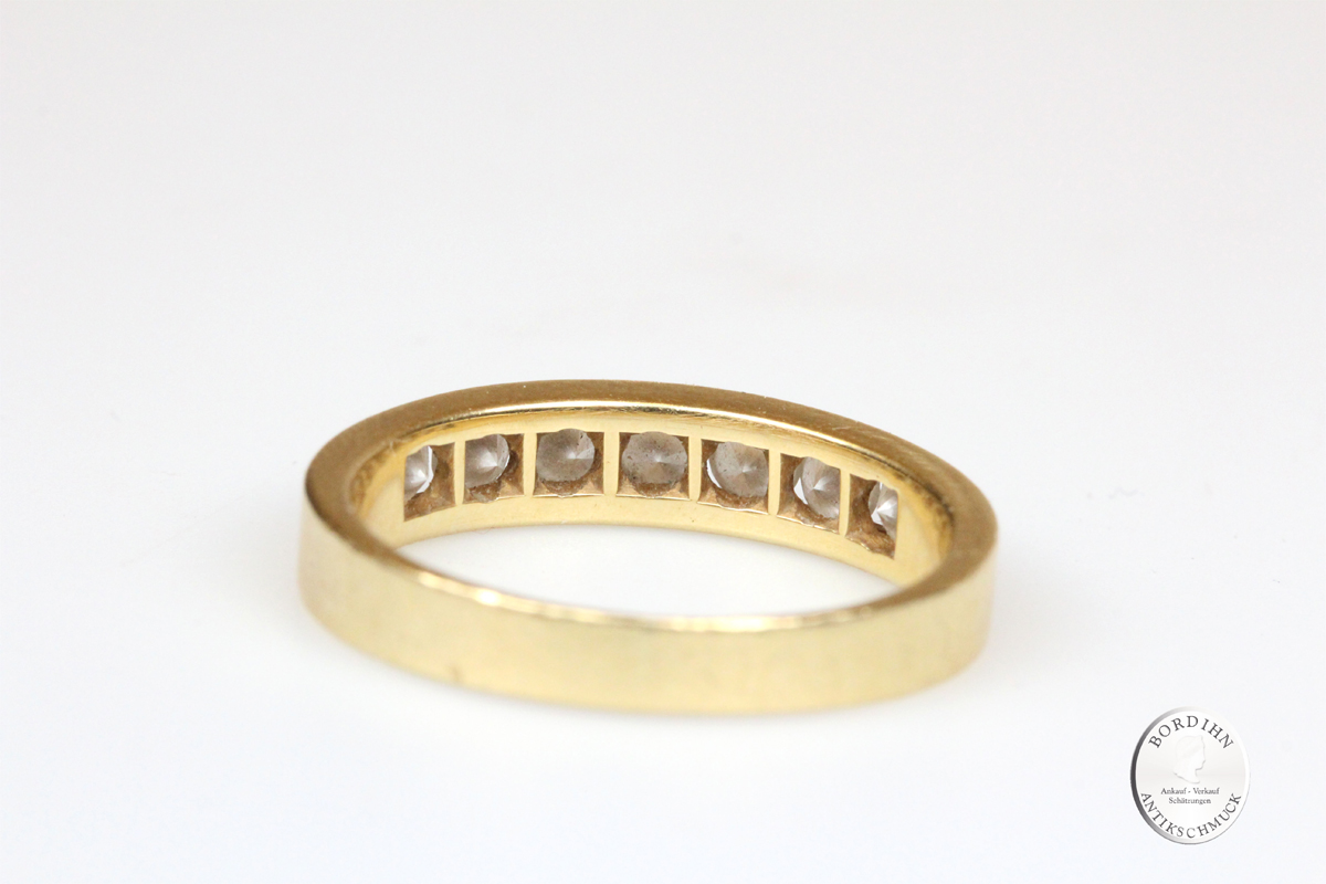 Ring 18 Karat Gold 7 Brillanten Bandring Goldring Schmuckring Herren