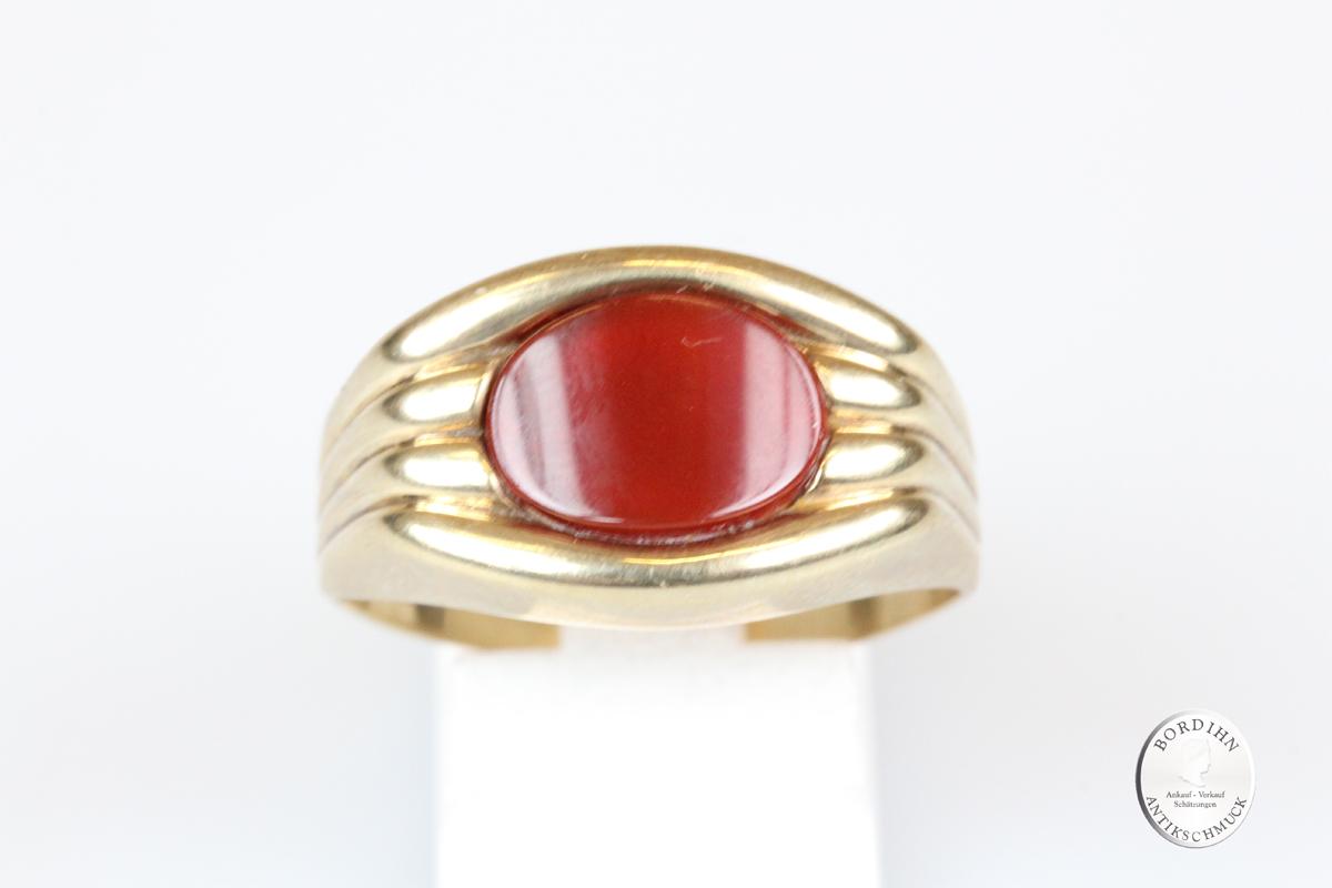Ring 8 Karat Gold mit Karneol Goldring Herrenring Schmuckring Geschenk