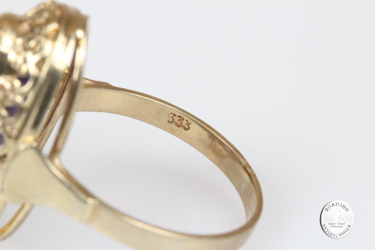 Ring 8 Karat Gold mit Amethyst Goldring Schmuckring Damen Schmuck
