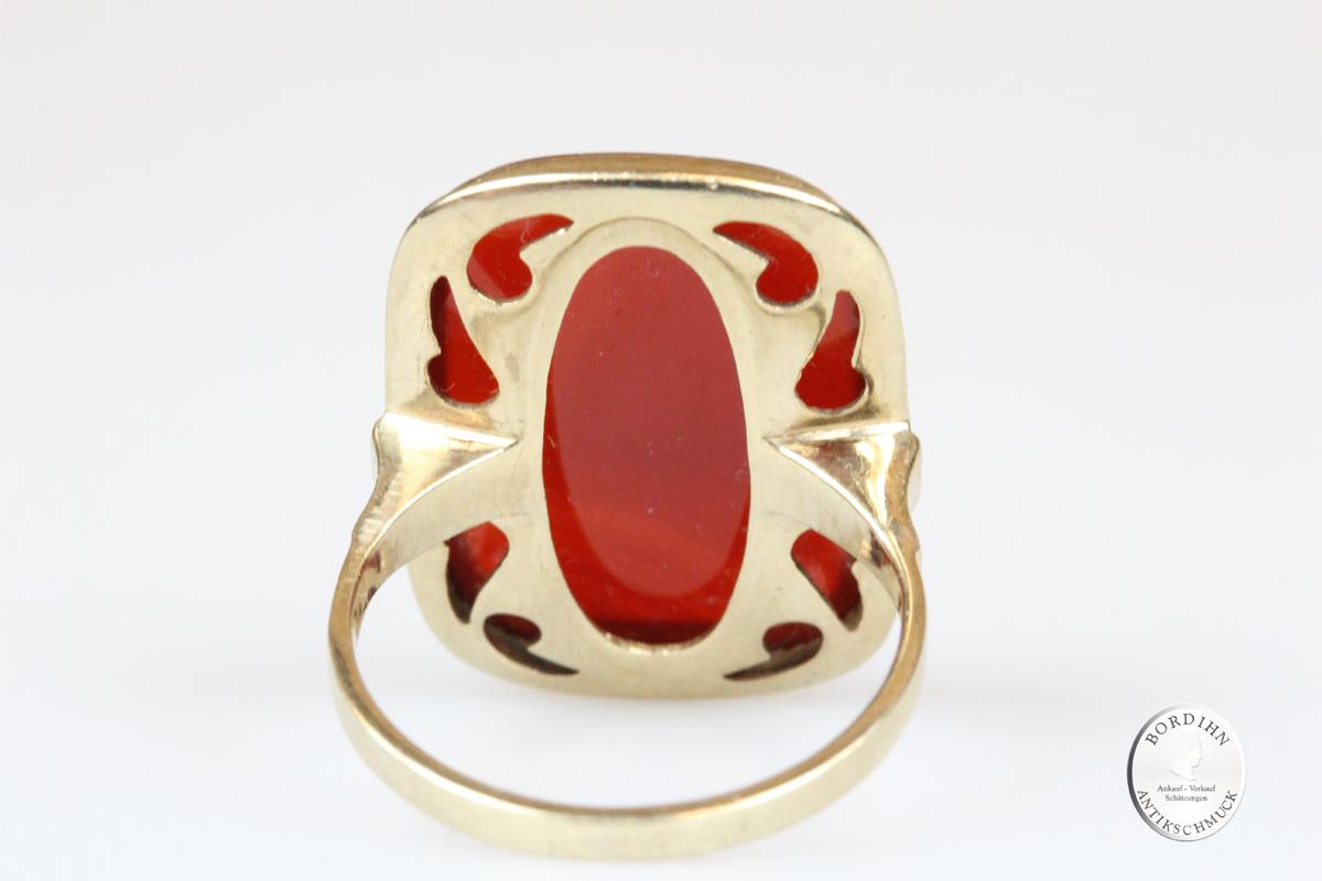 Ring 8 Karat Gold mit Karneol Goldring Schmuckring Geschenk Damen