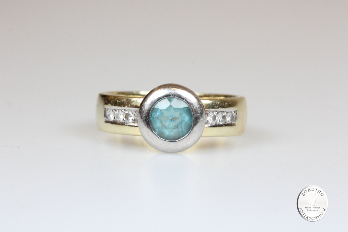 Ring 14 Karat Gold Blautopas Diamanten Schmuck Goldring Damen Geschenk