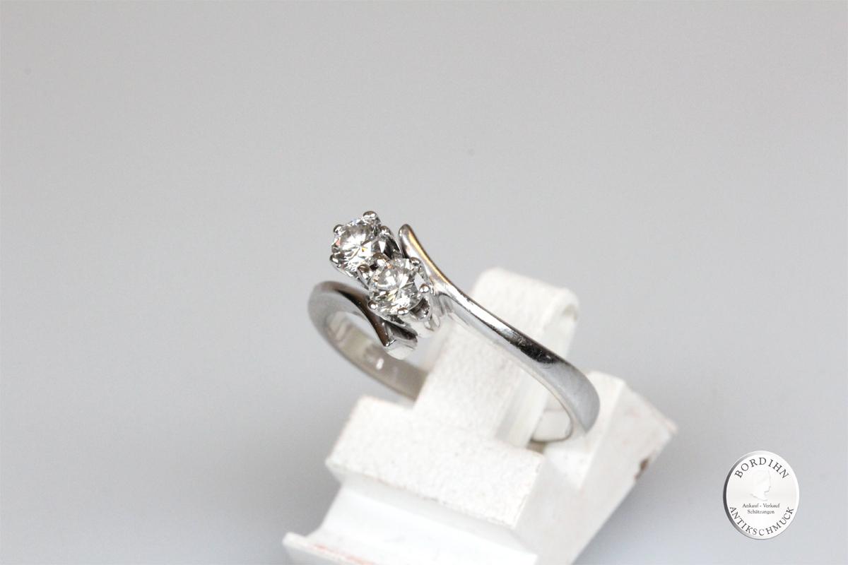 Ring 14 Karat Weißgold 2 Brillanten Goldring Diamant Schmuck Geschenk