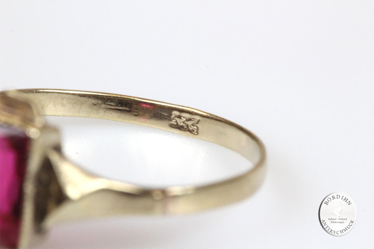 Ring 8 Karat Gold Farbstein rot Goldring Schmuckring Geschenk Damen
