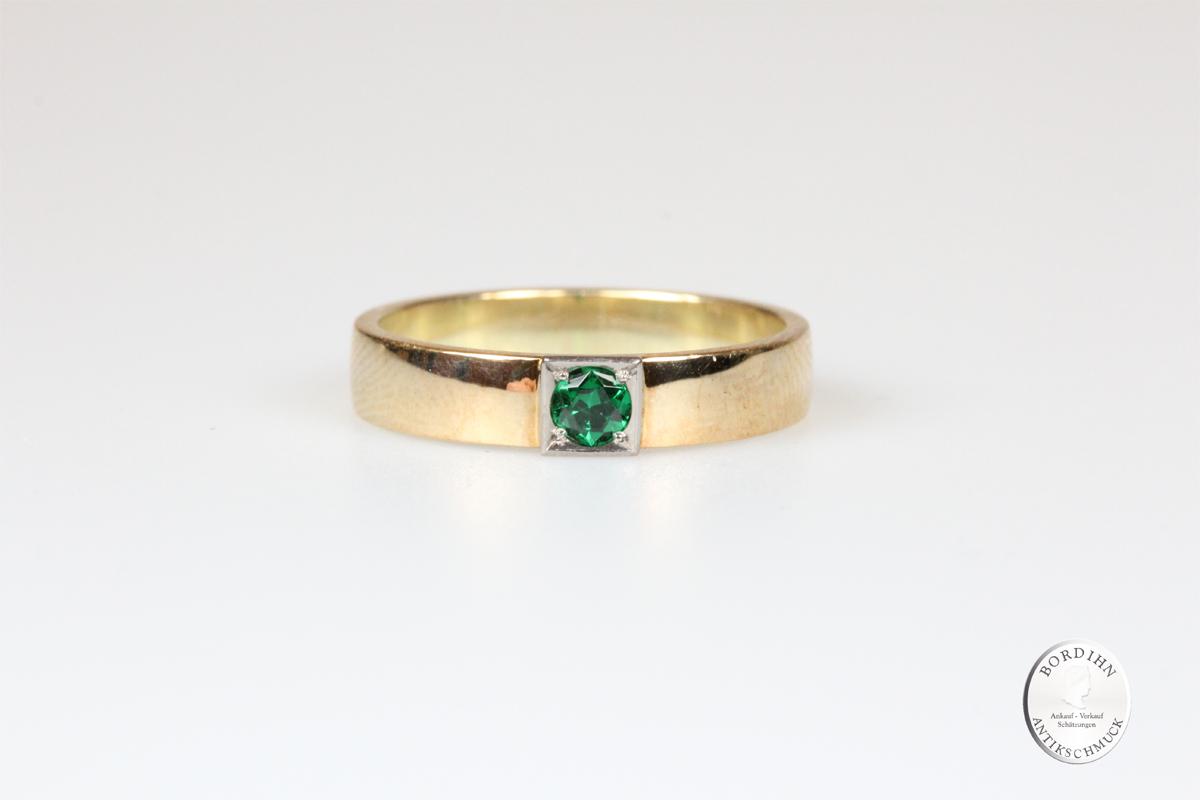 Ring 14 Karat Gold Bandring Tsavorit Edelstein Schmuck Goldring Geschenk