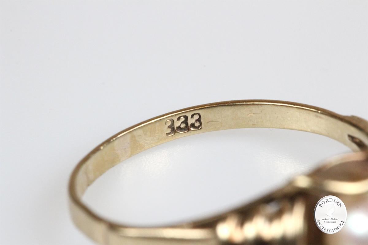 Ring 8 Karat Gold Perle Goldring Schmuck Damen Geschenk Perlenring