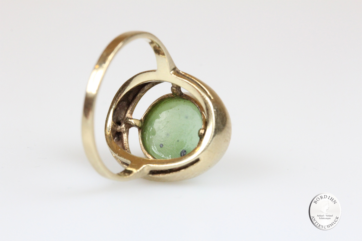 Ring 8 Karat Gold Jade Goldring Schmuckring Edelstein Damen Geschenk