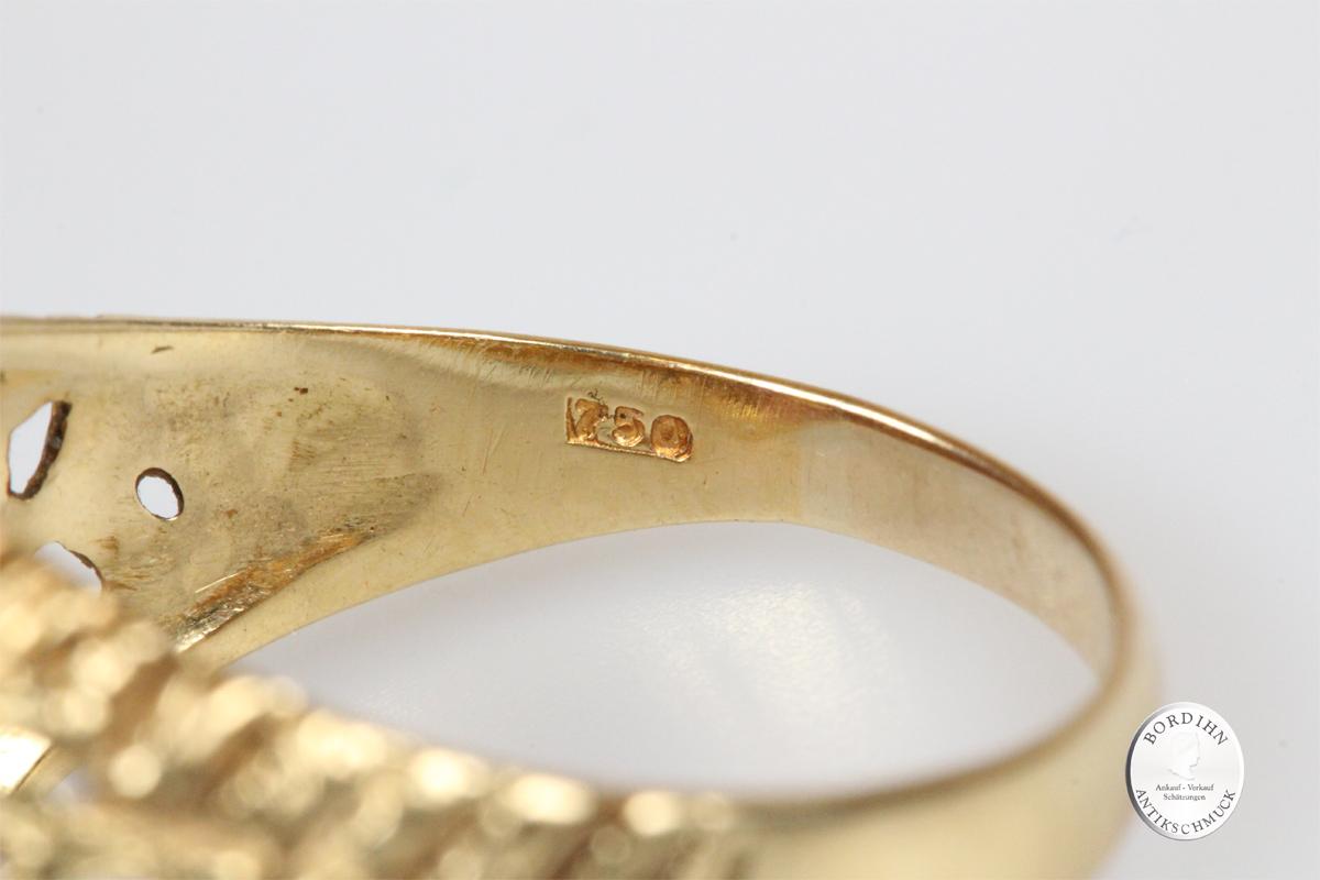 Ring 18 Karat Gold mit Amethyst Schmuck Fingerring Herren Geschenk