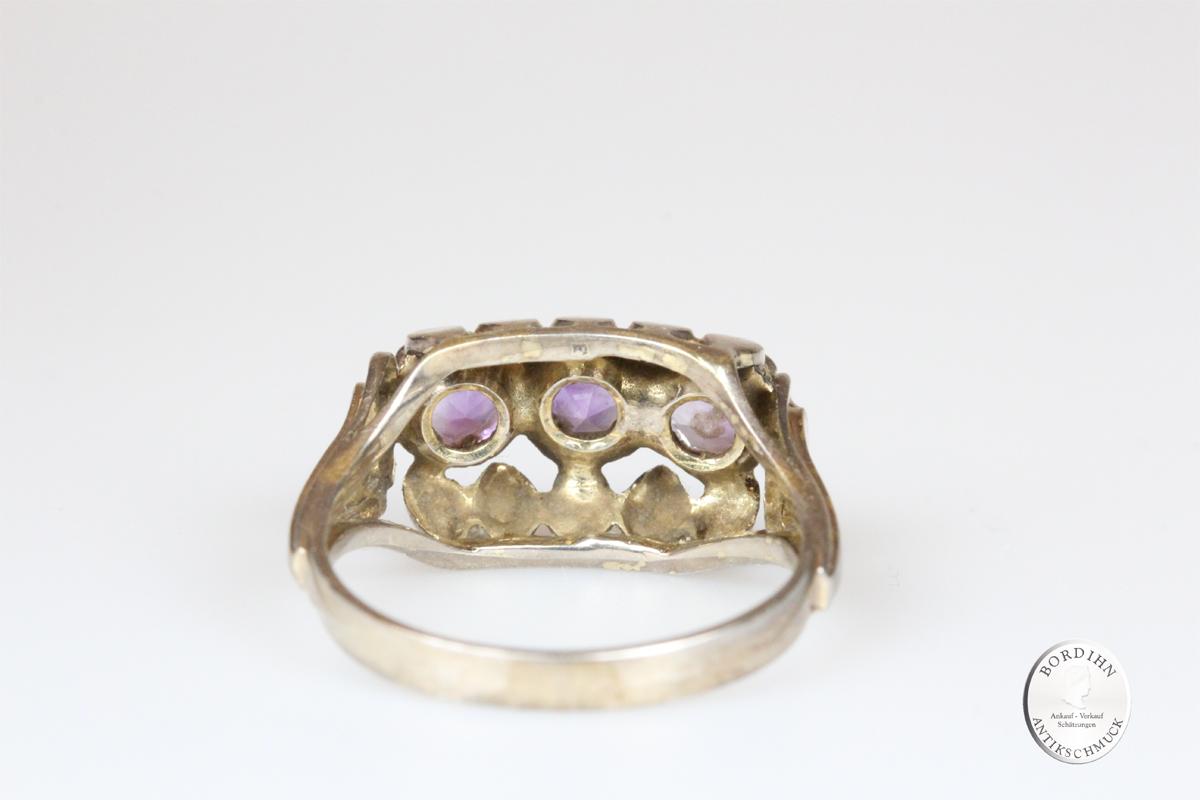 Ring 14 Karat Gold 3 Amethyst Edelsteine Goldring Schmuck Damen Geschenk