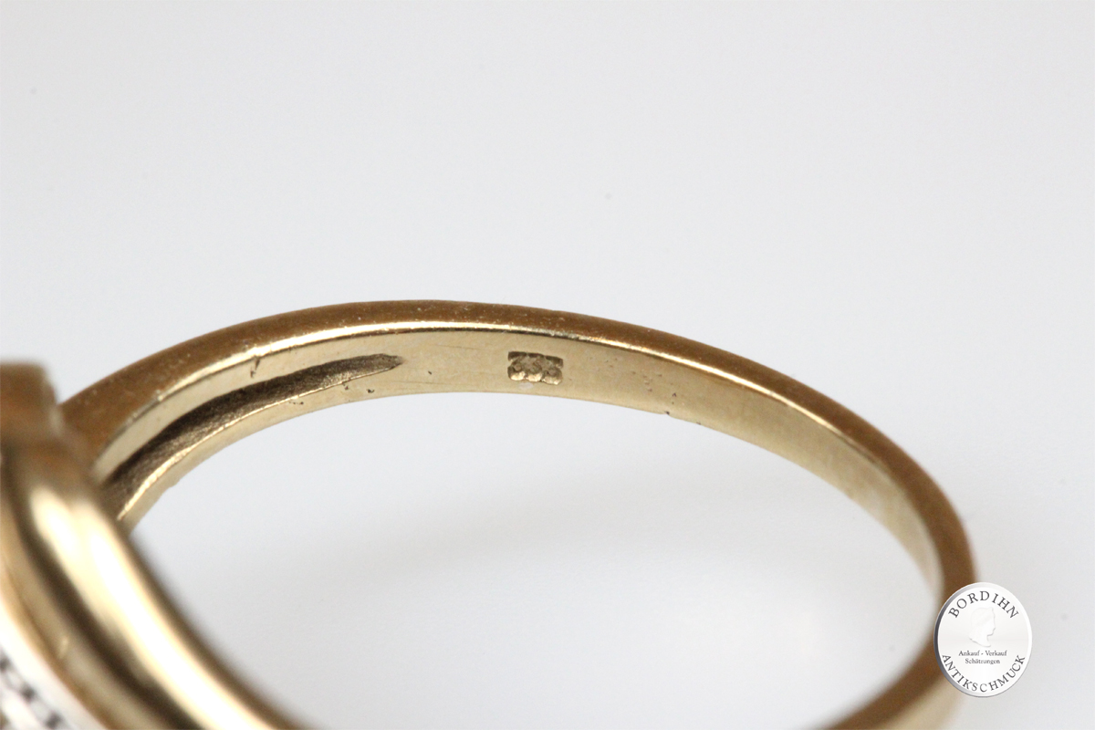 Ring 8 Karat Gold Smaragd Diamant Goldring Schmuckring Damen Geschenk