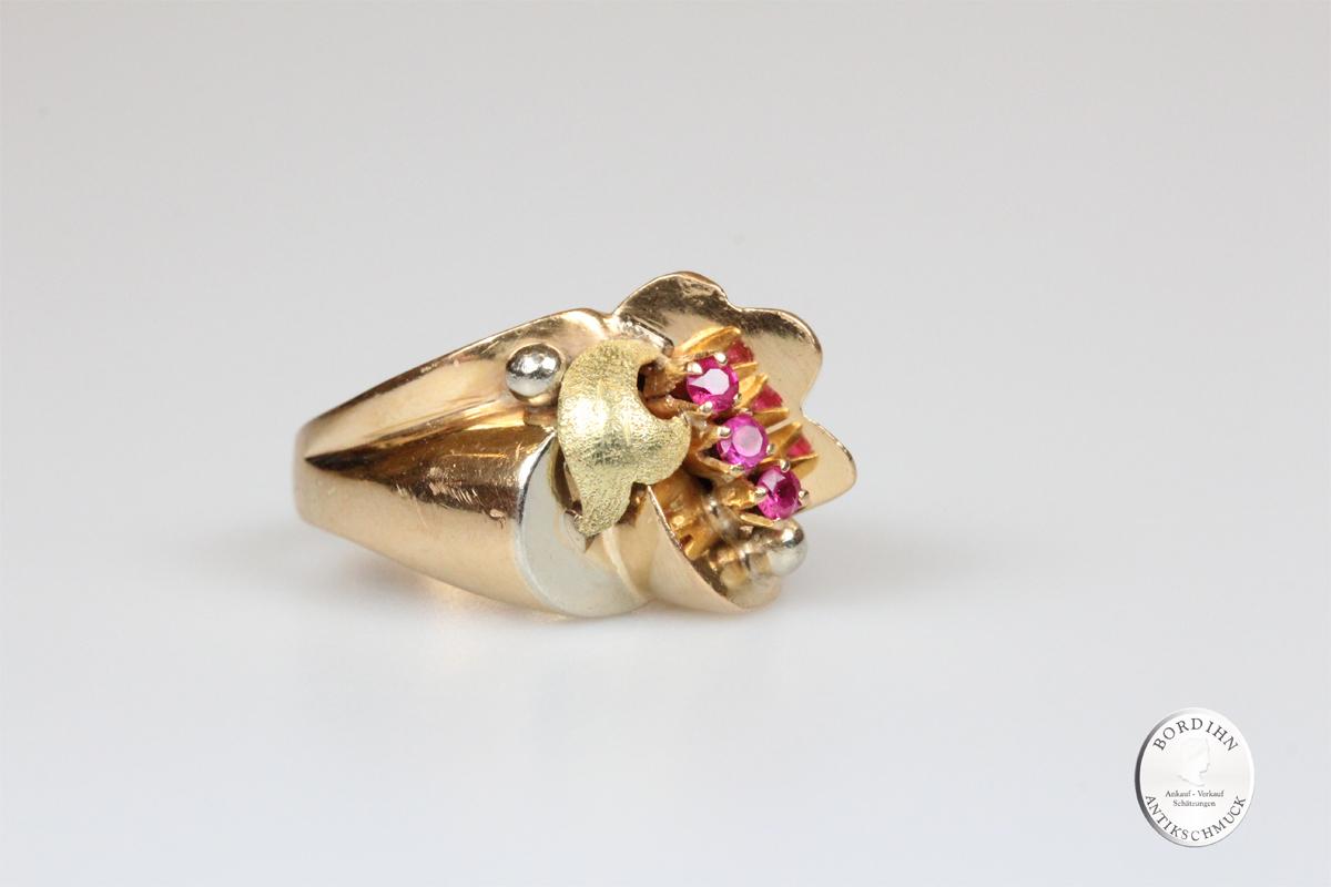 Ring 18 Karat Gold 3 Rubine Goldring Schmuck Edelstein Damen Geschenk