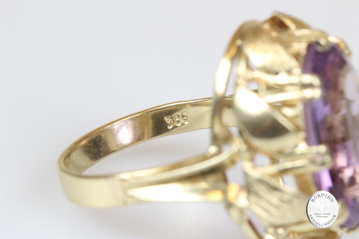 Ring 14 Karat Gold Amethyst Goldring Schmuck Edelstein Damen Geschenk