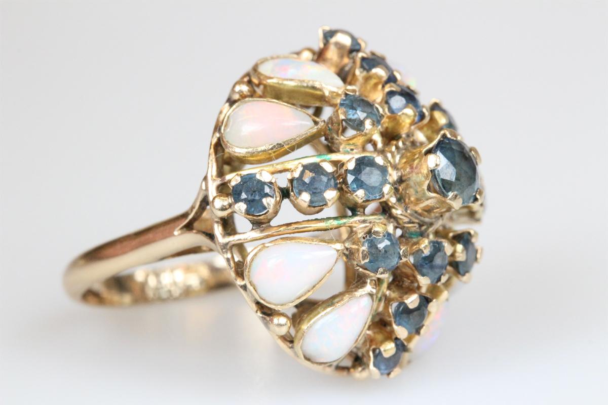Ring 10 Karat Gold Opal Saphir antik Schmuck Edelsteine Goldring Damen Geschenk