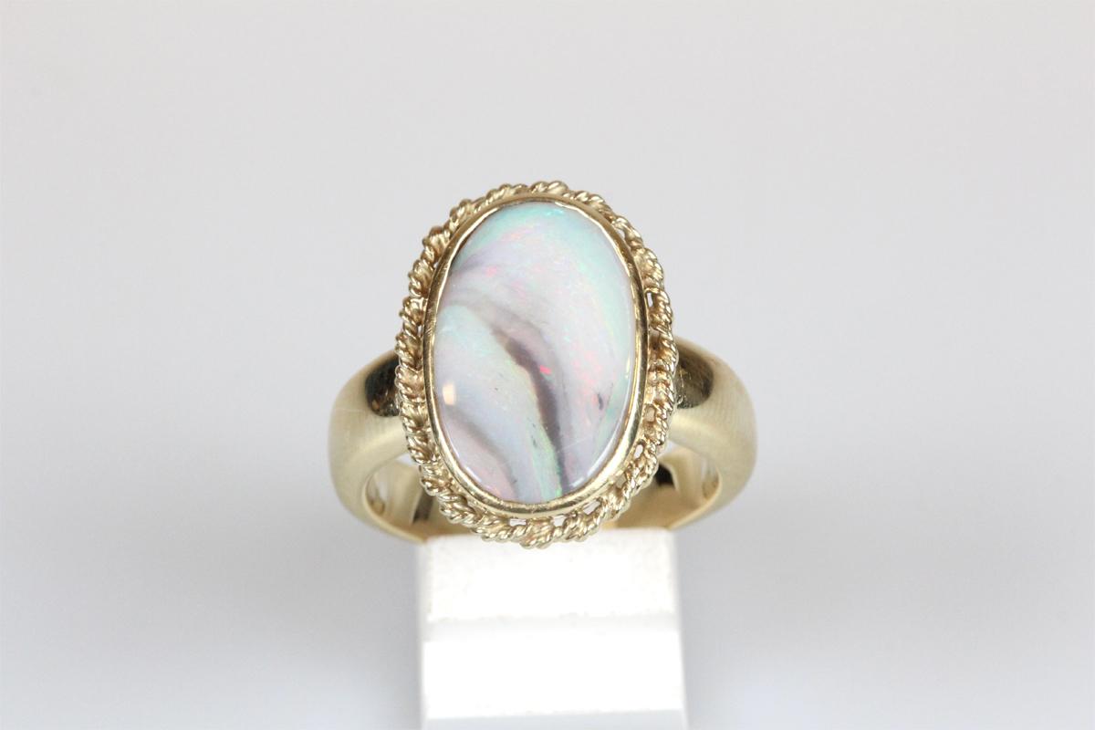 Ring 14 Karat Gold Opal Solitär Edelstein Schmuck Geschenk Damen und Herren