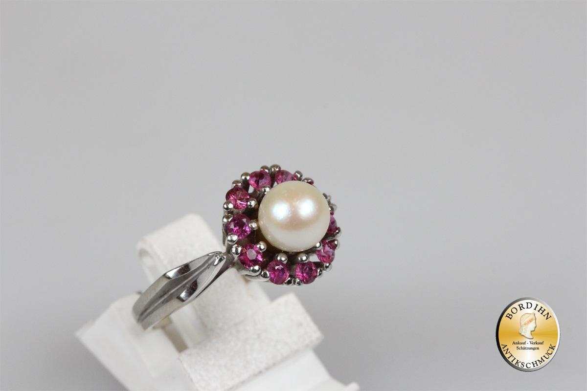 Ring 14 Karat Weißgold 10 Farbsteine Perle Goldring Schmuck Geschenk