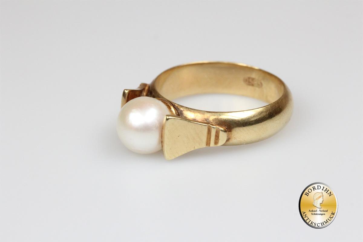 Ring; 14 Karat Gold, 1 Perle