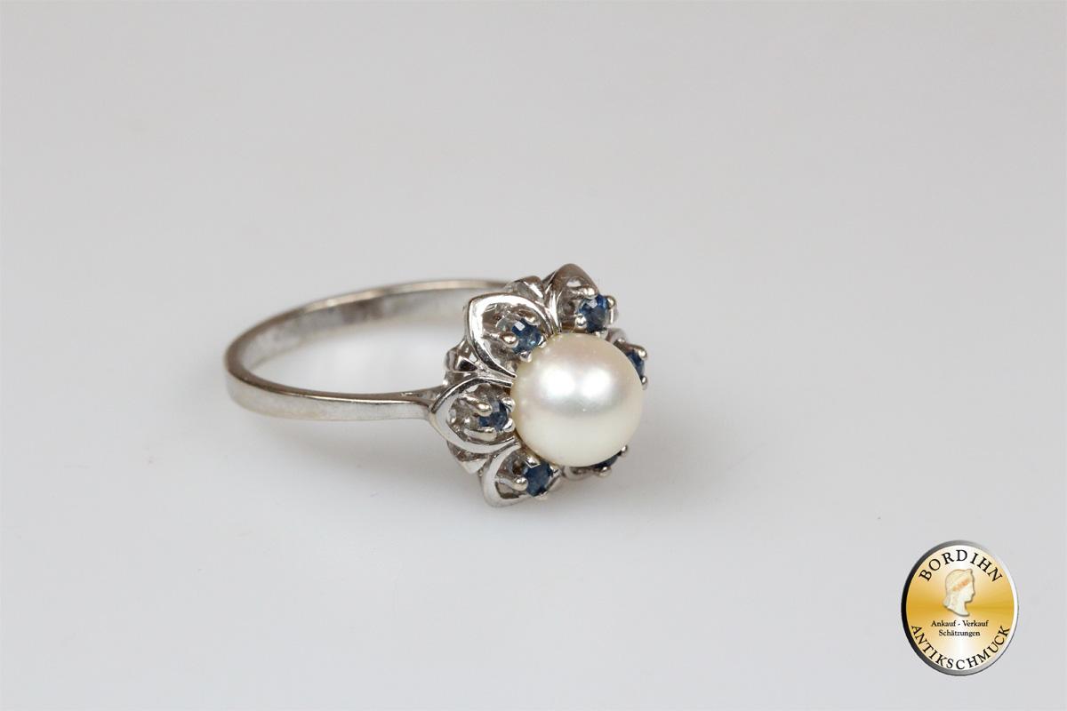 Ring 14 Karat Gold Perle 6 Saphire Goldring Schmuckring Weißgold