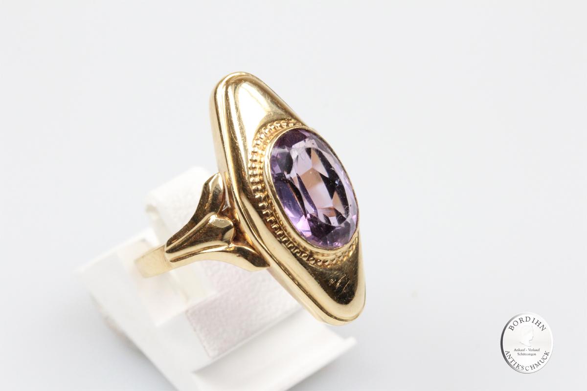 Ring 14 Karat Gold Schiffchen Ring Amethyst Fingerring Schmuck Damen