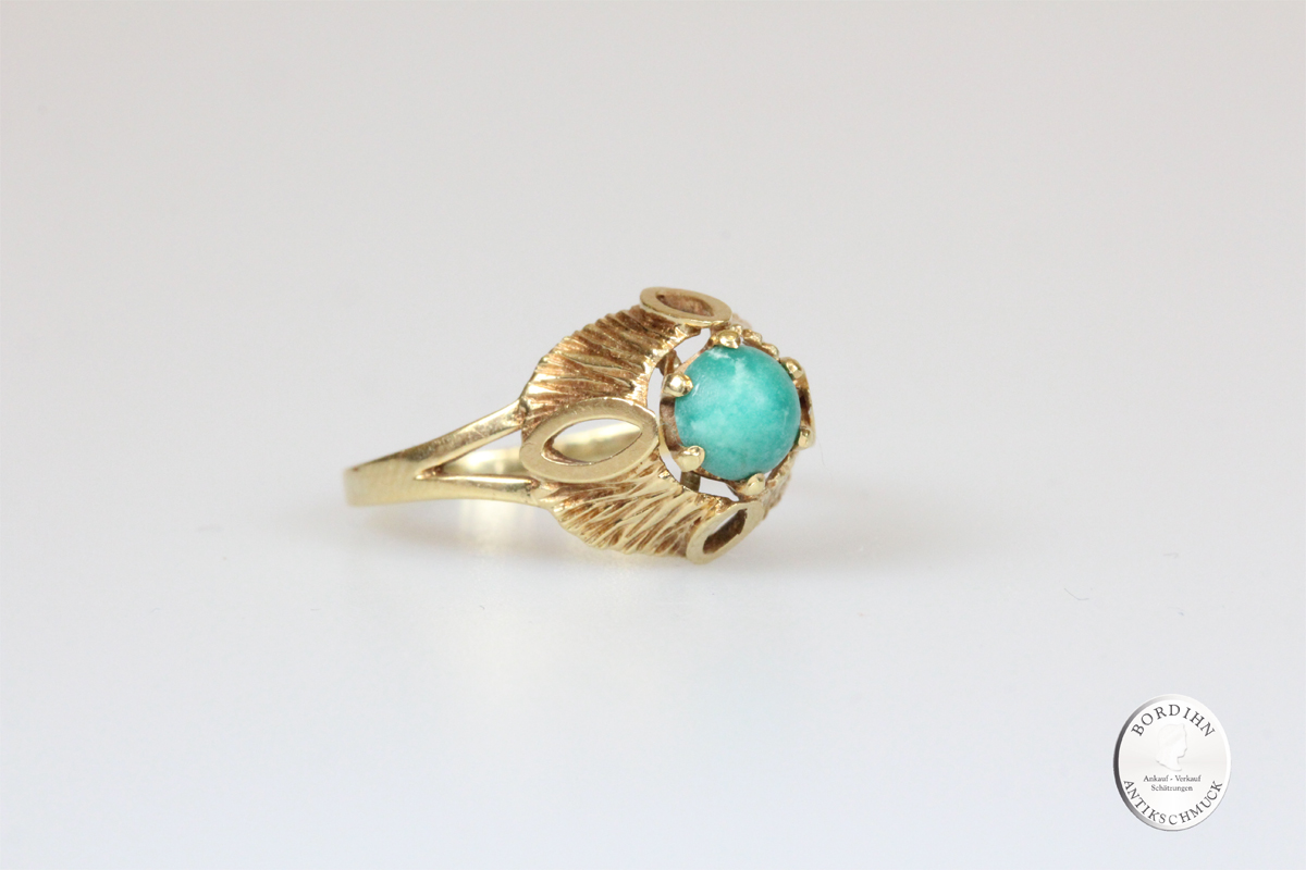 Ring 14 Karat Gold Türkis Goldring antik Schmuck Damen Geschenk