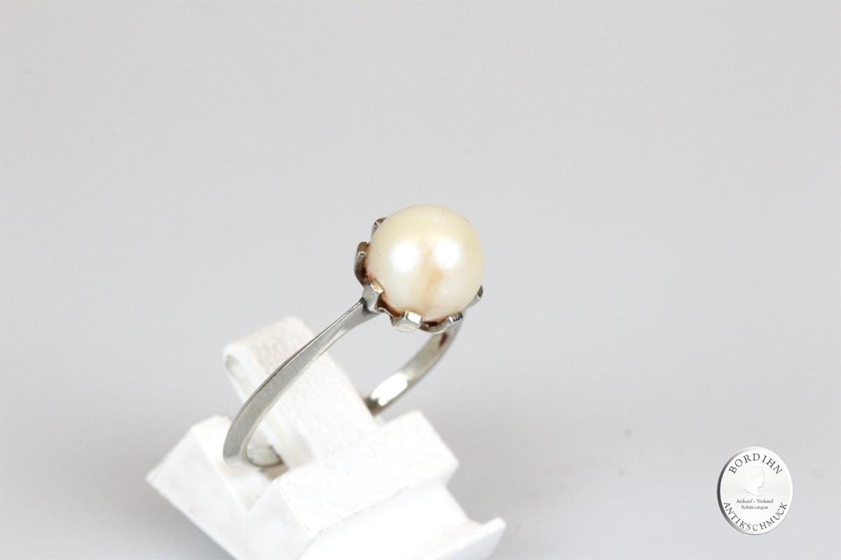 Ring 18 Karat Weißgold Perle Goldring Schmuck Damen Geschenk