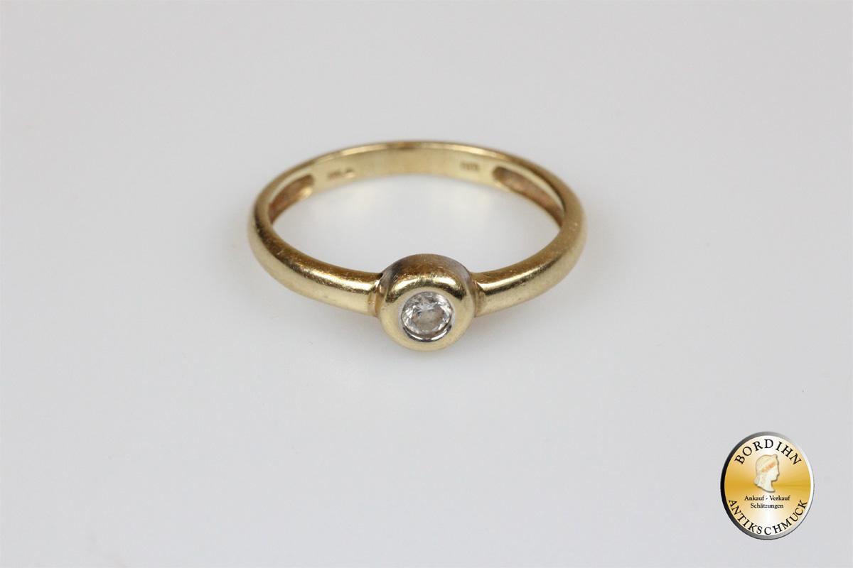 Ring 14 Karat Gold mit Brillant Bandring Goldring Schmuckring Gelbgold