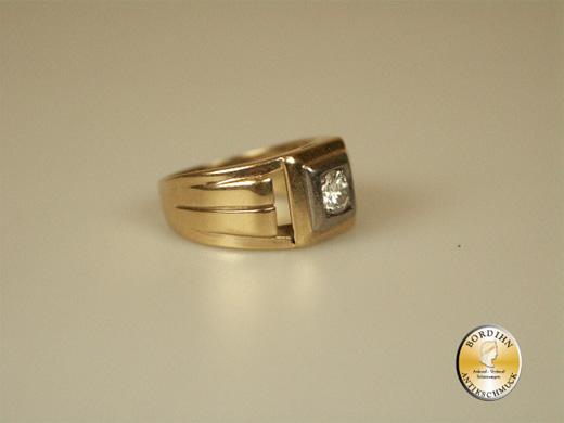 Bandring 14 Karat Gold 1 Brillant Solitär Stil Goldring Schmuck Damen
