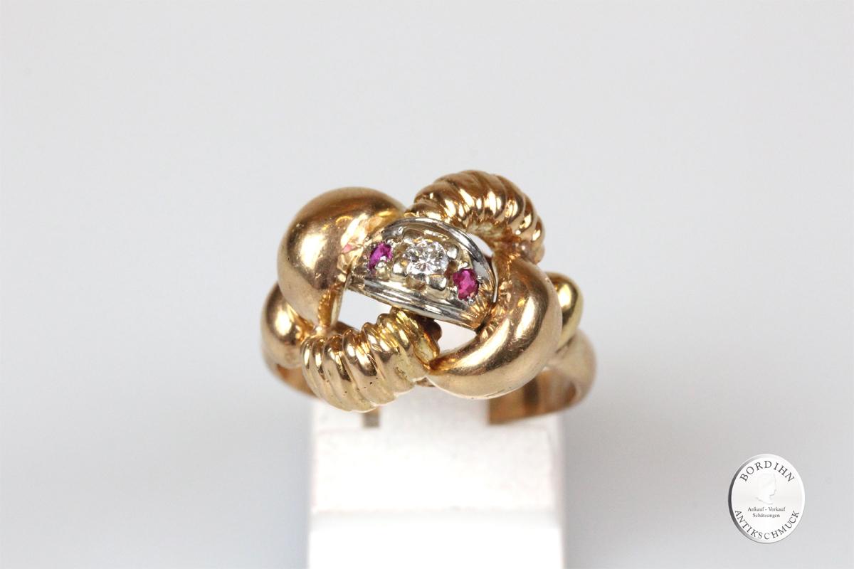 Ring 18 Karat Gold Brillant Rubine Goldring Edelsteine Schmuck Damen