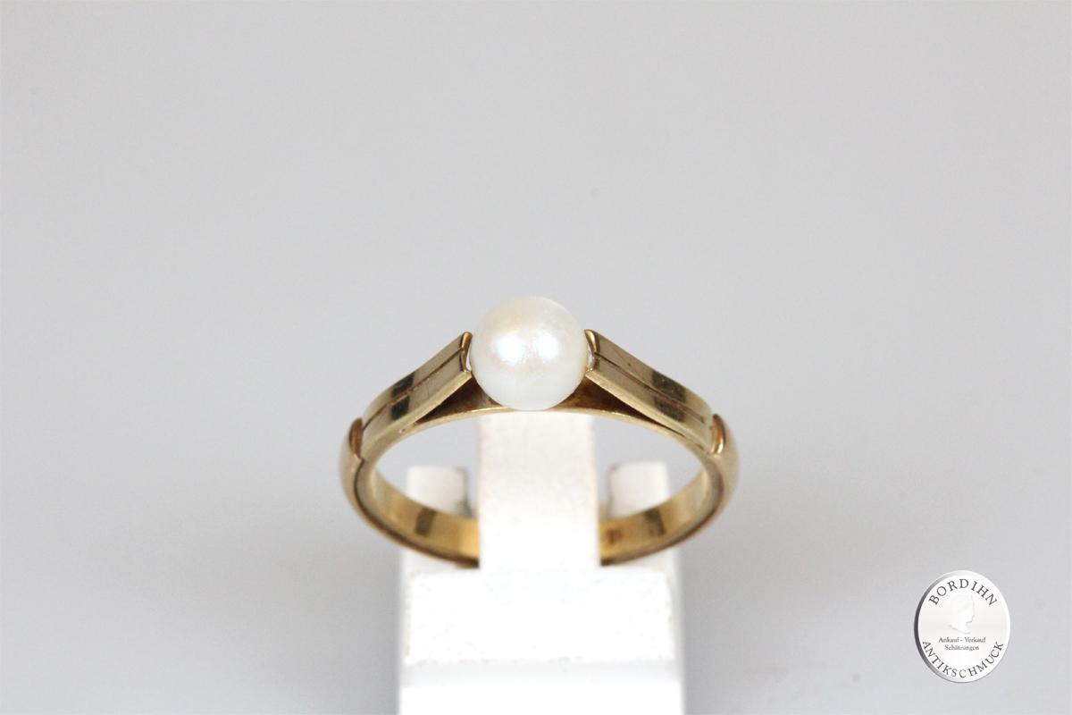 Ring 14 Karat Gold Perle Goldring Perlenring Damen Geschenk