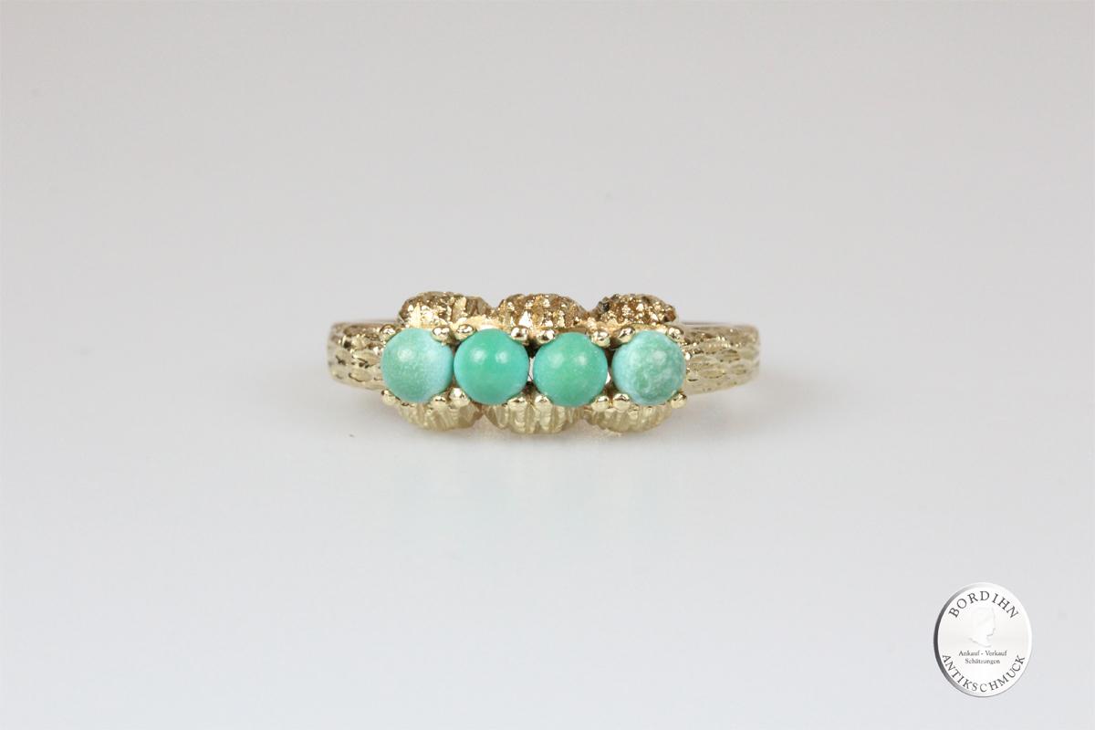Ring 14 Karat Gold Jade Goldring Schmuckring Damen Geschenk