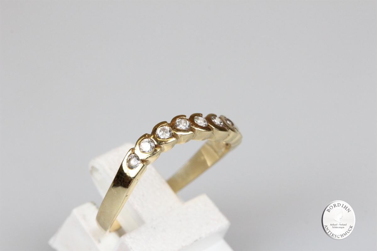 Ring 14 Karat Gold Bandring 9 Zirkone Schmuckring Goldring Damenring