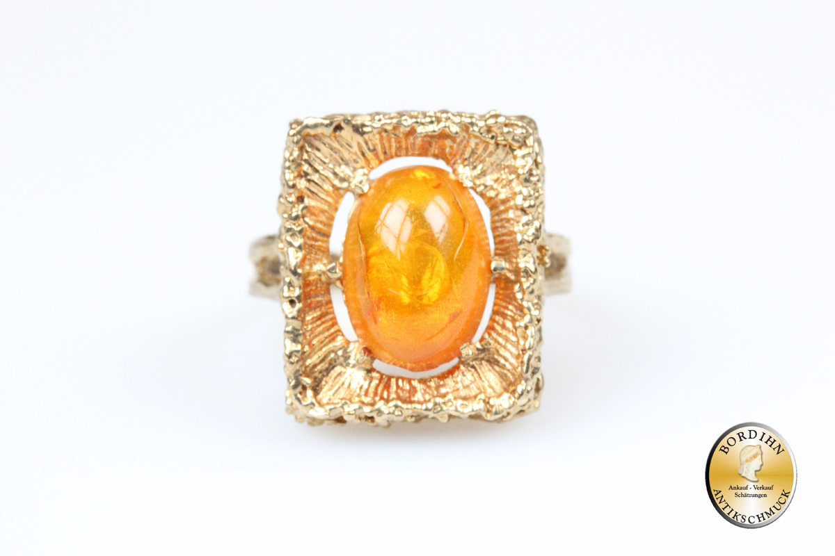 Ring 8 Karat Gold Bernstein Schmuckring Goldring Edelstein Geschenk