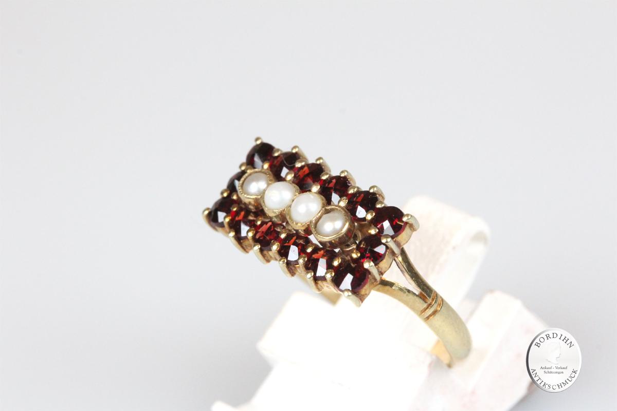 Ring 14 Karat Gold 4 Perlchen 14 Granaten Goldring Fingerring Schmuck