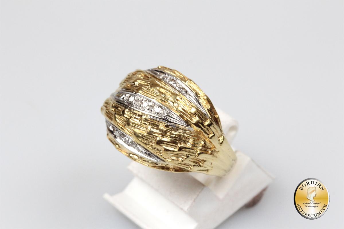 Ring; 18 Karat Gold mit Brillanten, Goldring, Edelsteine, Goldschmuck