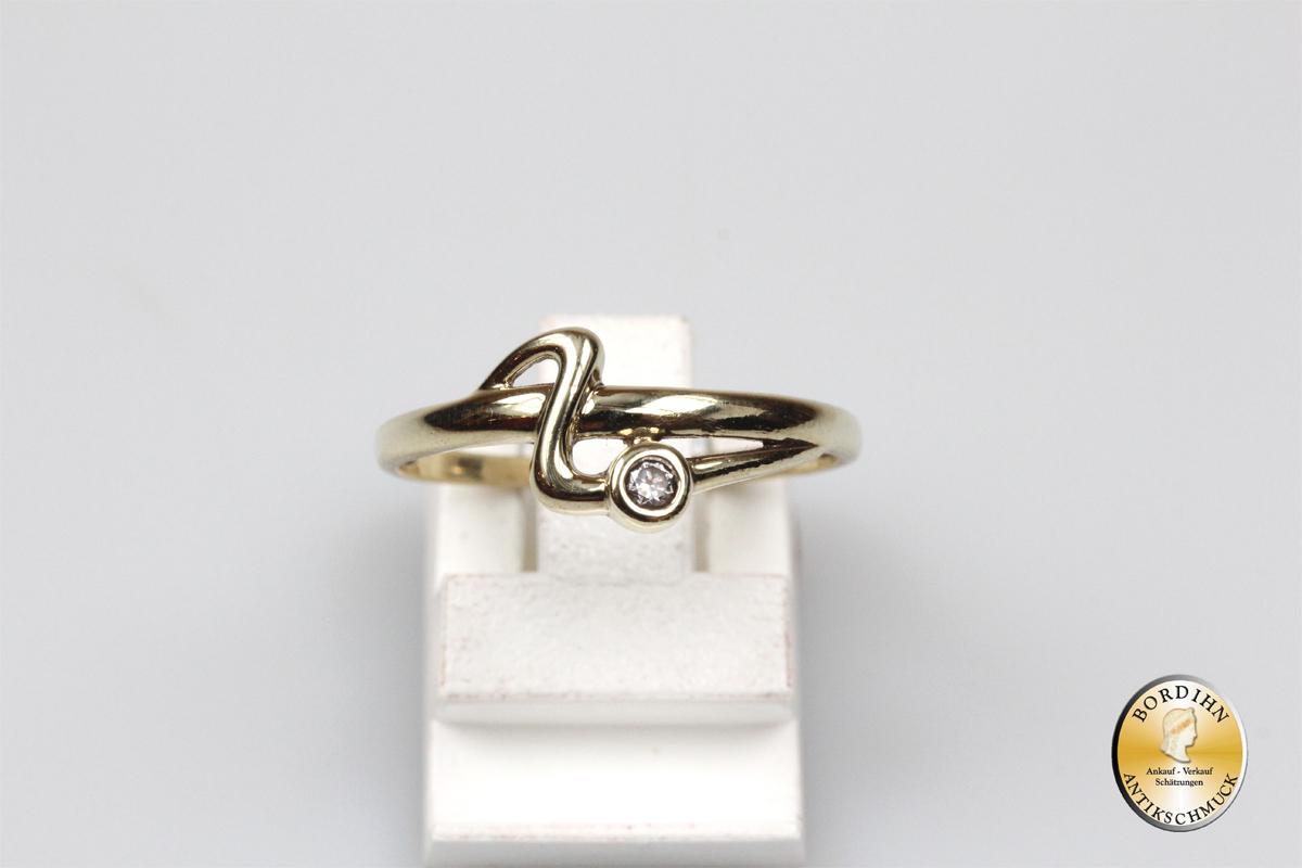 Ring Goldring 8 Karat Gold Schlangenring Damenring Farbstein Geschenk
