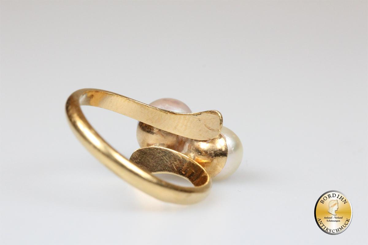 Ring Goldring 18 Karat Gold 2 Perlen grau und weiß Perlring Damenring