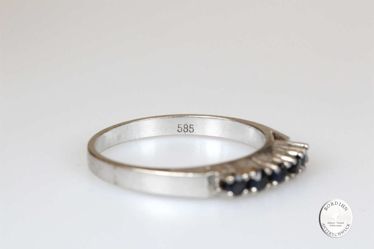 Ring 14 Karat Weiß Gold 5 Saphire Edelsteine Schmuck Geschenk Damen